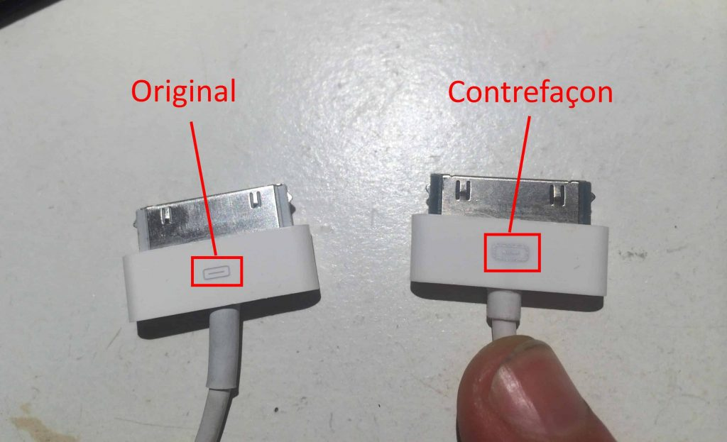 cable charge iphone contrefacon