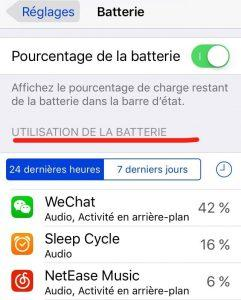 image des statistiques d'utilisation de la batterie dans les réglages de l'iPhone