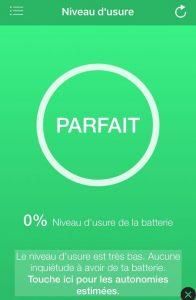 application d'indication de niveau d'usure de la batterie
