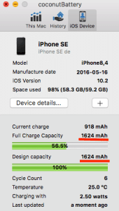 changement de batterie sur iphone coconutBattery mac