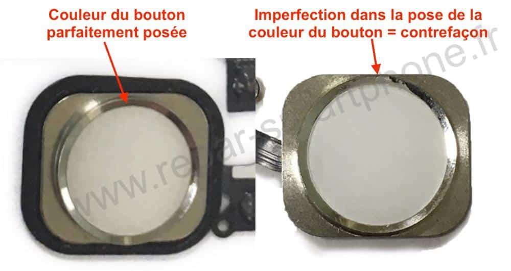 bouton home blanc original comparaison iPhone 5S 5SE