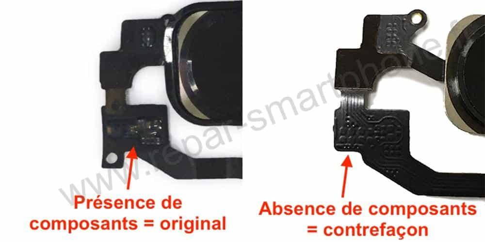 Bouton home noir iPhone 5s 5se composants nappe