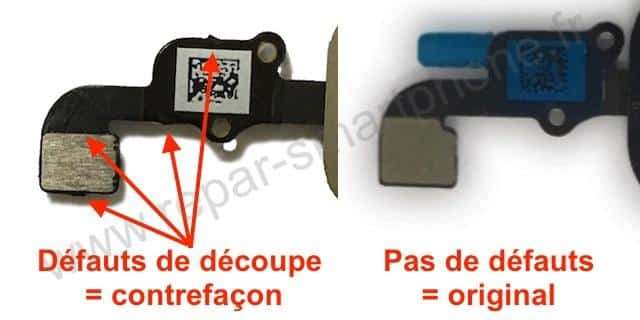 Bouton home iPhone 6 6+ 6s 6s+ comparaison nappe
