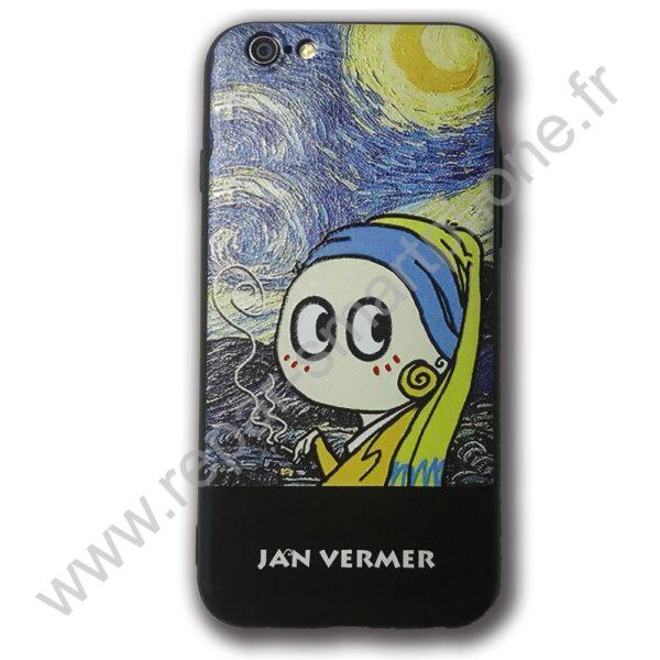 Coque souple cartoon Jeune fille à la perle iPhone 6 - Boutique ...