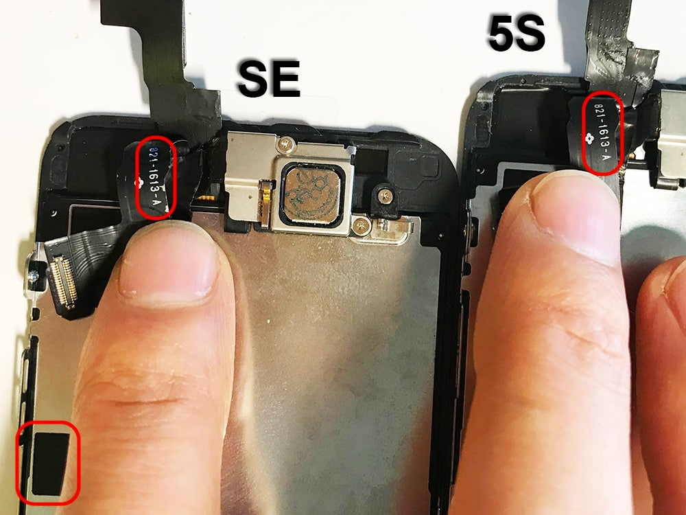 comparaison numero de piece camera frontale iphone 5s se
