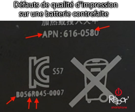 exemple defaut qualite impression ecritures batterie contrefaite iphone